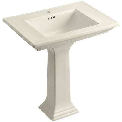 Memoirs Fireclay Pedestal Combo Bathroom Sink in Almond with Overflow Drain