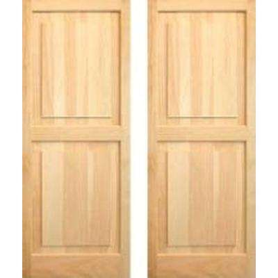 15 in. x 59 in. Unfinished Raised Panel Shutters Pair