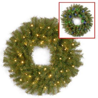 24 in. Norwood Fir Artificial Wreath with Battery Operated Dual Color LED Lights