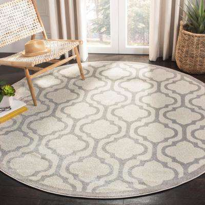 Amherst Ivory/Light Gray 7 ft. x 7 ft. Indoor/Outdoor Round Area Rug