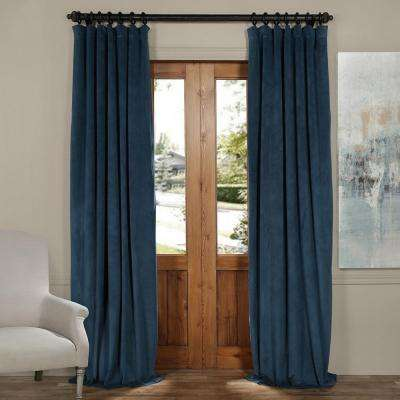 Signature Twilight Blue Blackout Velvet Curtain - 50 in. W x 120 in. L (1 Panel)