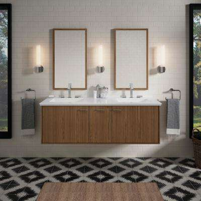 Jute 60 in. W Wall-Hung Vanity in Walnut Flax with Marble Vanity Top in Carrara with White Basins