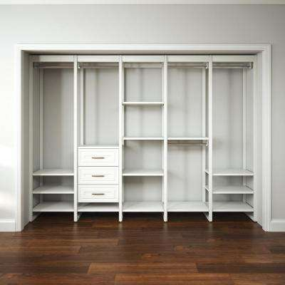 113 in. W White Adjustable Tower Wood Closet System with 3 Drawers and 19 Shelves