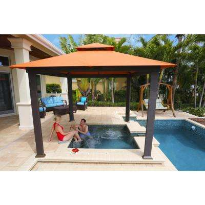10 Ft. X 10 Ft. Gazebo With Rust Sanbrella Canopy  Home Depot Patio
