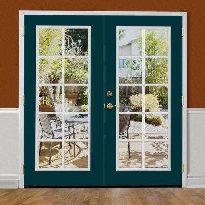 Prehung 10 Lite Primed Smooth Fiberglass Patio Door with No Brickmold