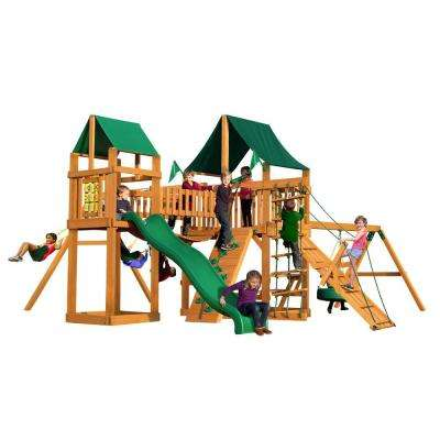 Pioneer Peak with Amber Posts and Sunbrella Canvas Forest Green Canopy Cedar Playset