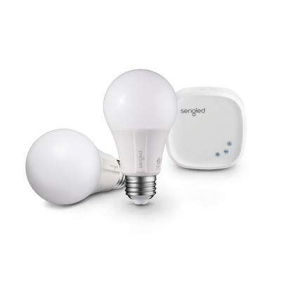 Element Classic Smart Lighting Starter Kit with Smart Hub and 2 A19 2700K 60W EQ Dimmable LED Bulbs, White