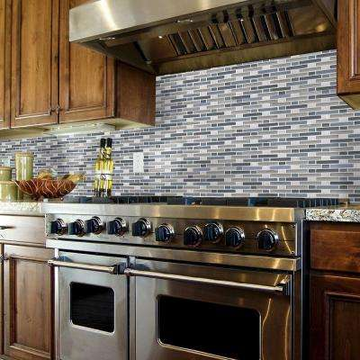 Cyclove Blue 10.875 in. x 13.25 in. x 8 mm Interlocking Glass/Stone Mosaic Tile