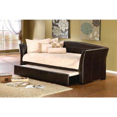 Montgomery Twin-Size Daybed with Trundle in Brown Vinyl Upholstery