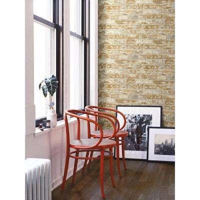28.18 sq. ft. Stuccoed Brown Brick Peel and Stick Wallpaper