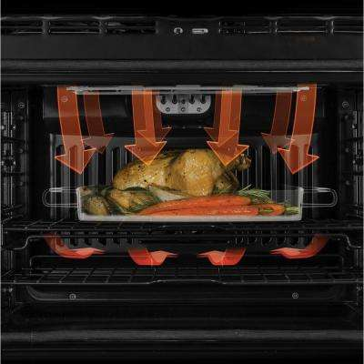 Profile 30 in. Double Electric Wall Oven with Convection (Upper Oven) Self-Cleaning in Black