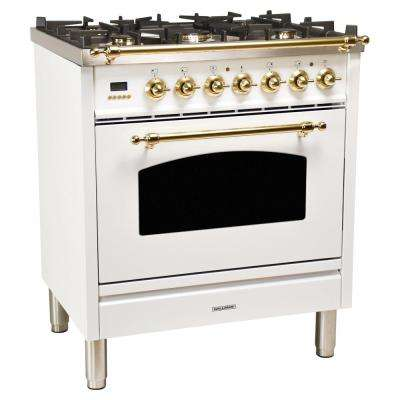 30 in. 3.0 cu. ft. Single Oven Dual Fuel Italian Range with True Convection, 5 Burners, LP Gas, Brass Trim in White