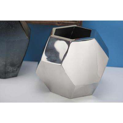 7 in. Geometric Stainless Steel Decorative Vase in Silver