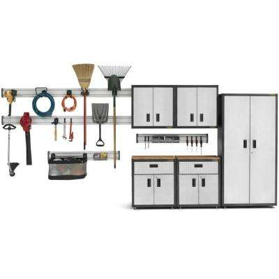 Ready-to-Assemble 72 in. H x 92 in. W x 18 in. D Steel Garage Cabinet and Wall Storage System in Silver Tread (16-Piece)