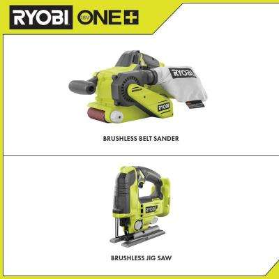 18-Volt ONE+ Cordless Brushless Belt Sander with Dust Bag and 80-Grit Sanding Belt and Jig Saw with Blade (Tools Only)