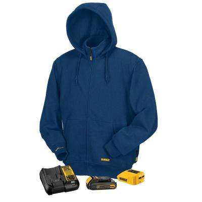 Unisex Small Blue 20-Volt/12-Volt MAX Heated Hoodie Kit with 20-Volt Lithium-Ion MAX Battery and Charger