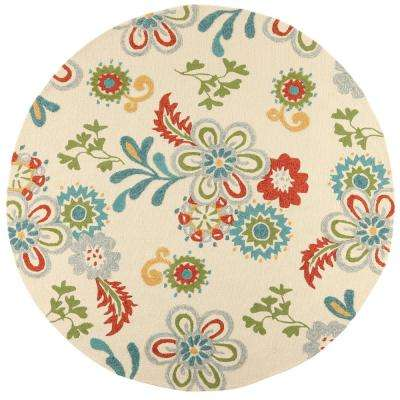 Tilly Ivory 8 ft. x 8 ft. Round Indoor/Outdoor Area Rug
