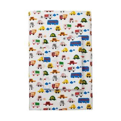 Beep Beep 200-Thread Count Cotton Percale Fitted Sheet