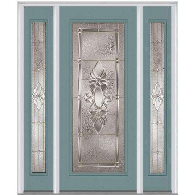64.5 in. x 81.75 in. Heirloom Master Decorative Glass Full Lite Painted Majestic Steel Exterior Door with Sidelites