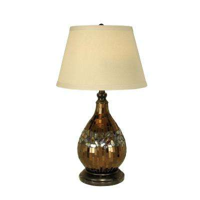 27 in. Mosaic Glass Dome Dark Antique Bronze Table Lamp