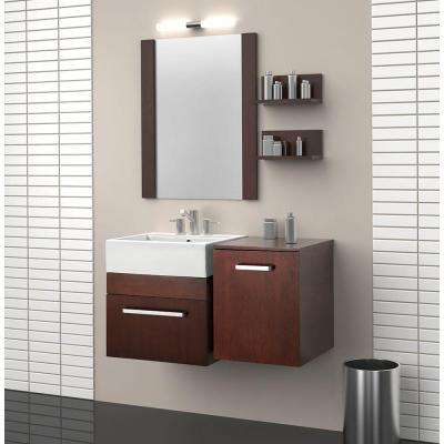 Rayne 20 in. Floating Vanity with Square Vitreous China Vanity Top in White and Mirror in Cherry