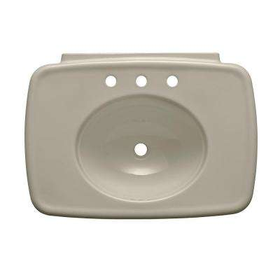 Bancroft 5 in. Vitreous China Pedestal Sink Basin in Sandbar with Overflow Drain