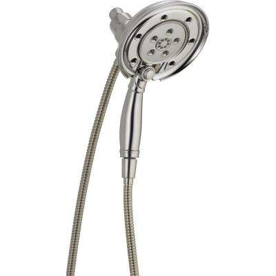 In2ition 4-Spray Hand Shower and Shower Head Combo Kit with H2Okinetic and MagnaTite Docking in Stainless