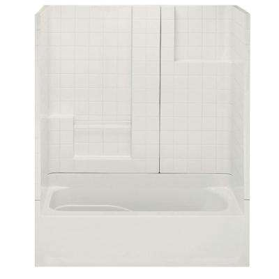 Remodeline Smooth Tile 60 in. x 30 in. x 72 in. 3-Piece Bath and Shower Kit with Left Drain in Bone