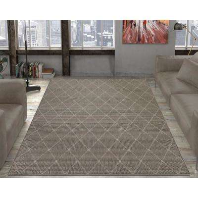 Jardin Collection Contemporary Trellis Design Gray 5 ft. x 7 ft. Outdoor Area Rug