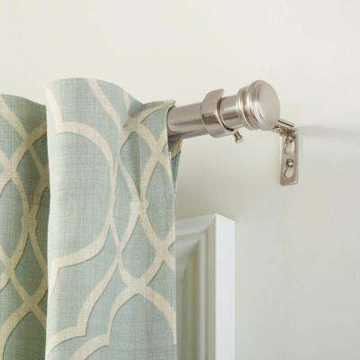 Mix and Match 72 in. L - 144 in. L Telescoping 1 in. Single Curtain Rod Kit in Brushed Nickel