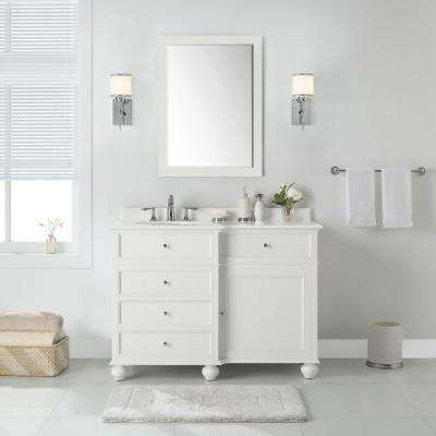 Hampton Harbor 48 in. W x 22 in. D in White Bath Vanity with  Natural Marble Vanity Top in White with White Sink