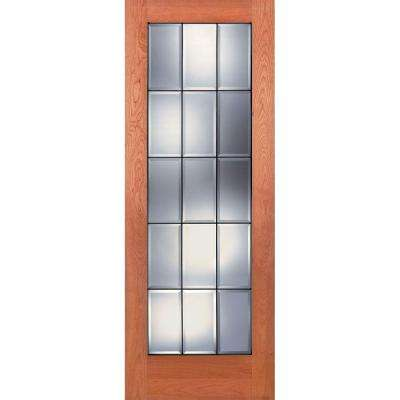 Gentil 15 Lite Clear Bevel Patina Woodgrain Unfinished Cherry Interior Door Slab
