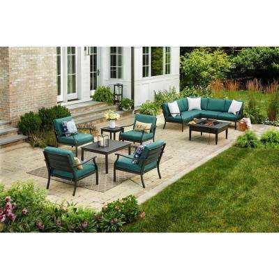 Riley KD Stationary Metal Steel Outdoor Lounge Chair with Charleston Cushions (2-Pack)