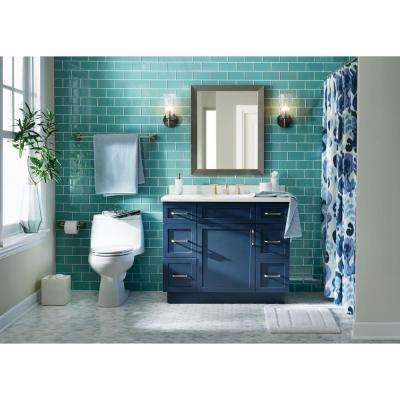 Lincoln 42 in. W x 22 in. D x 34.5 in. H Vanity in Midnight Blue with Cultured Stone Vanity Top in White with White Sink