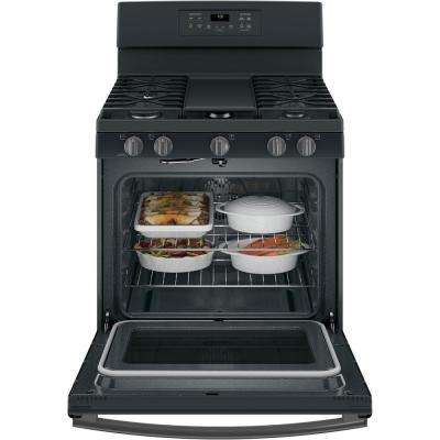 5.0 cu. ft. Gas Range with Self-Cleaning Convection Oven in Black Slate, Fingerprint Resistant