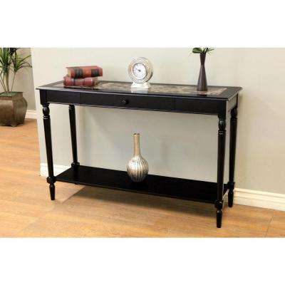 Faux Marble Foyer Black Hall Table with Drawer and Shelf
