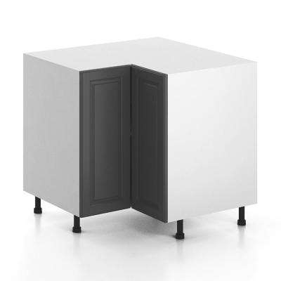 Ready to Assemble 36x34.5x36 in. Buckingham Corner Base Cabinet with 3/4 Lazy Susan in White Melamine and Door in Gray
