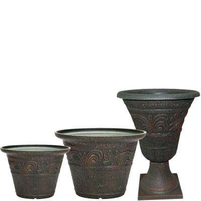 Tumbled Scroll 20 in. x 14 in. Rust Resin Planter Pack (Set of 3)