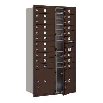 56-3/4 in. Max Height Unit Bronze Private Front Loading 4C Horizontal Mailbox with 20 MB1 Doors/2 PL's