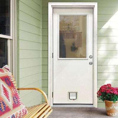 36 in. x 80 in. Classic Clear Half Lite RHOS White Primed Fiberglass Prehung Front Door with Small Cat Door