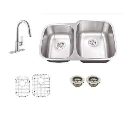 All-in-One Undermount Stainless Steel 30 in. 0-Hole Double Bowl Kitchen Sink with Faucet