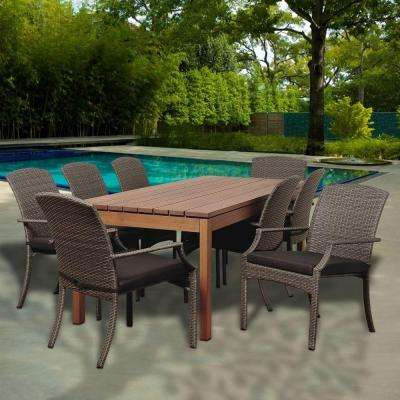 Dale 9-Piece Eucalyptus Rectangular Patio Dining Set with Grey Cushions