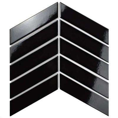 Metro Soho Chevron Glossy Black 1-3/4 in. x 7 in. Porcelain Floor and Wall Tile (1 sq. ft. / pack)