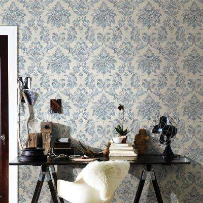 56.4 sq. ft. Astor Blue Damask Wallpaper