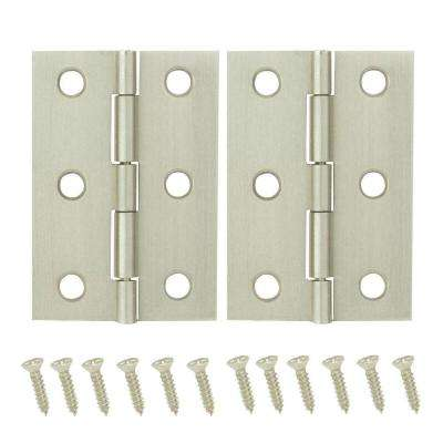 2-1/2 in. x 1-9/16 in. Satin Nickel Middle Hinges