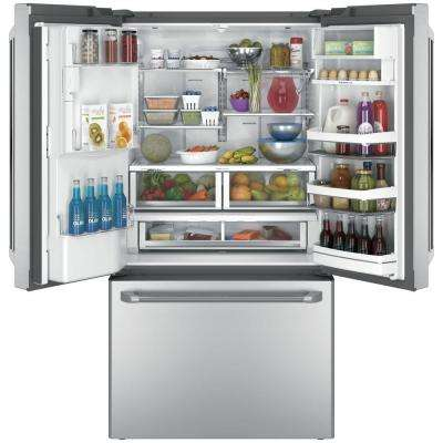 36 in. 27.8 cu. ft. Smart French Door Refrigerator with Keurig K-Cup and WiFi in Stainless Steel