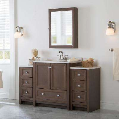 Delridge Bath Suite with 30 in. W Bathroom Vanity, Vanity top, and 2 Linen Towers in Flagstone