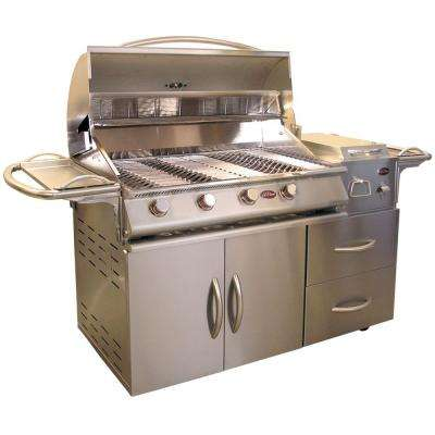 A La Deluxe 4-Burner Stainless Steel Propane Gas Grill Cart