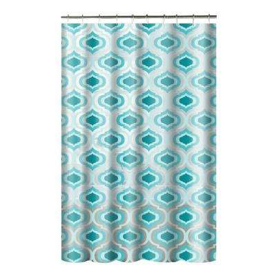 Printed PEVA Letto 70 in. W x 72 in. L Shower Curtain with Metal Roller Hooks in Aqua
