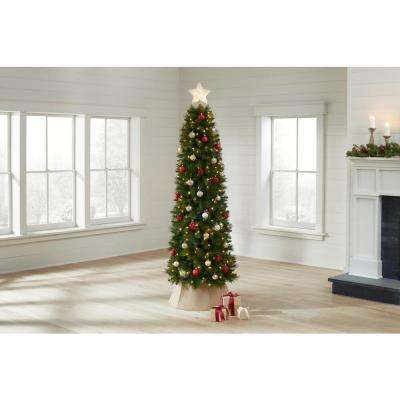 7 ft Wesley Long Needle Pine Pencil LED Pre-Lit Artificial Christmas Tree with 300 Warm White Lights